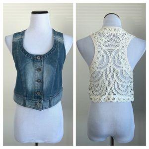 Free People Denim & Lace Vest ~ Size XS